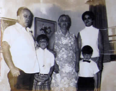 grandma and grandpa salerno, my brother, mom and me