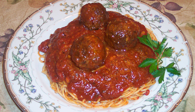 Spaghetti Sauce and Meatballs plate