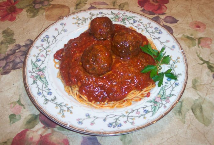 Spaghetti Sauce and Meatballs Plated