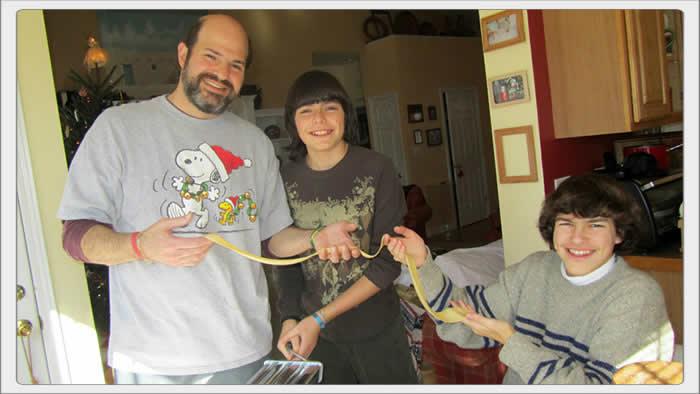 dad and boys making ravioli