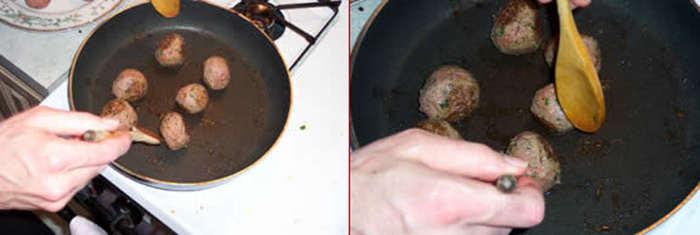 browning the meatballs