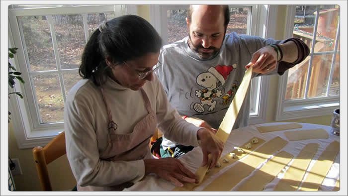 tony and cindy making raviolis
