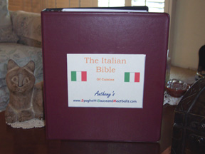 Anthony's Italian cook book custom made by Don