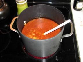 The Sunday sauce in progress!