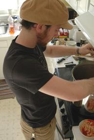Tending the pot!