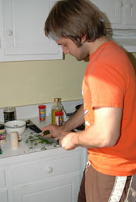 Chopping up the parsley