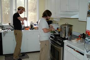 Making the Sunday Gravy.