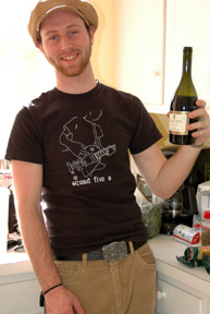 Matt with the wine to have while making the Sunday Gravy!