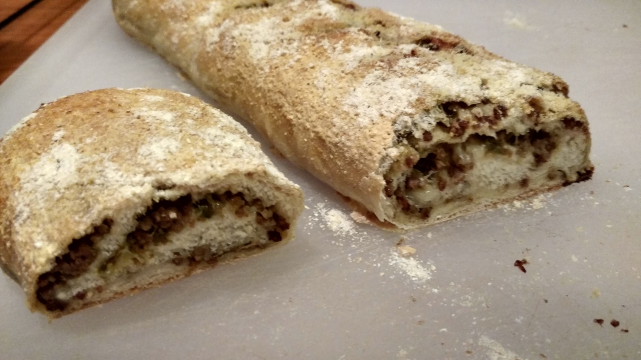 Sausage bread with Mozzarella and Parmesan Cheese.